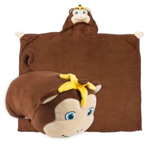 Comfy Critters Plush Huggable Hooded Blanket - Milo The Monkey