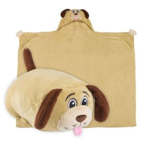 Comfy Critters Plush Huggable Hooded Blanket - Dexter The Dog