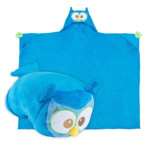 Comfy Critters Plush Huggable Hooded Blanket - Olive The Owl
