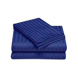 Embossed Stripe Sheet Set Full Navy Blue