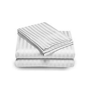 Embossed Stripe Sheet Set Full White
