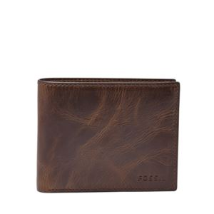 Derrick Mens RFID Bifold Wallet Brown