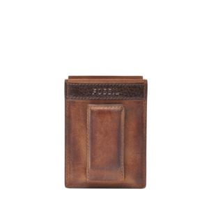 Quinn Mens Magnetic Card Case Brown