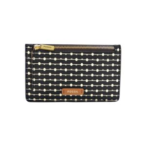 Ladies Logan Zip Card Case Black Stripe