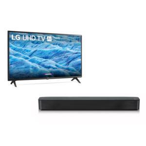 KIT 49'' 4K LCD TV w/ 2.0 Channel Soundbar