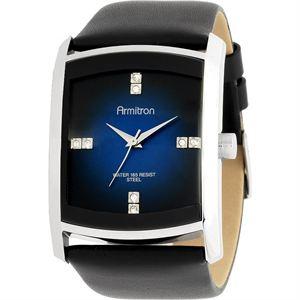 Men's Dress Silver-Tone Black Leather Strap Watch