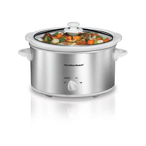 4 Quart Slow Cooker - White/Silver