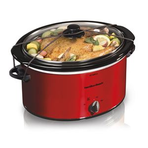 5qt Portable Oval Slow Cooker Red