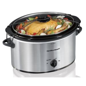 5qt Portable Oval Slow Cooker Silver