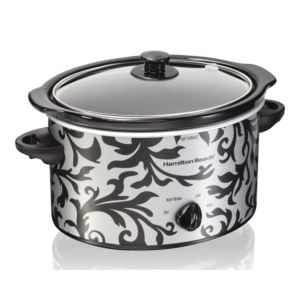 3qt Slow Cooker Silver/Black Damask Pattern