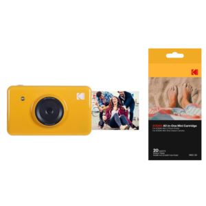 Mini Shot Instant Camera w/ 20-Pack Paper Cartridge Yellow