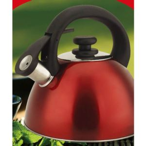 Red Stainless Steel 3qt Whistling Tea Kettle