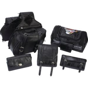 6Pc Motorcycle Leather Luggage Set