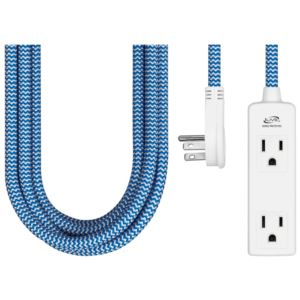 3 Outlet Fabric Power Cord - Blue