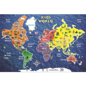 "Kid's World Peel and Stick Map - small 24"" x 16"""