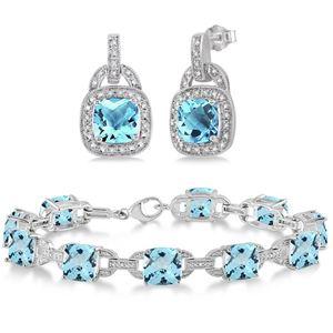 Blue Topaz Bracelet & Earring Set