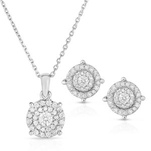 Cluster Diamond Earring and Necklace Set