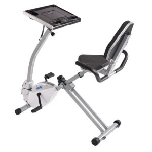 2-in-1 Recumbent Exercise Bike Workstation & Standing Desk