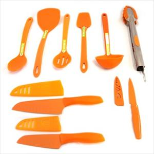 12-Pc Silicone Tool & Knife Set (Orange)