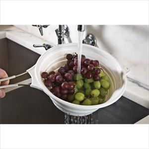 "8"" Collapsible Silicone Colander (White)"