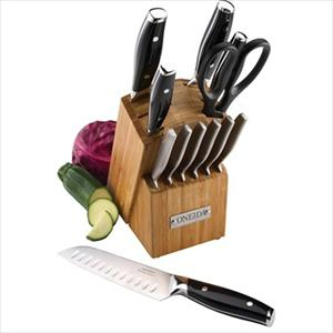 13-Pc Dual Rivet Cutlery Set w/ Block