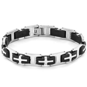 Men's Stainless Steel and Rubber Cross Link Bracelet