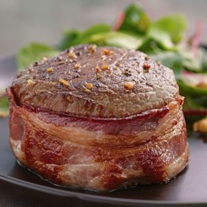 12 (5oz) Top Sirloin Steaks w/ Hickory Bacon