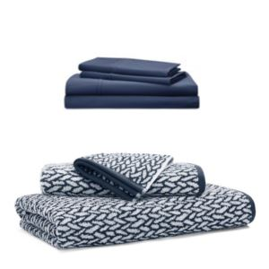 Jacguard Towel Set and Queen Sheet set - (Navy)