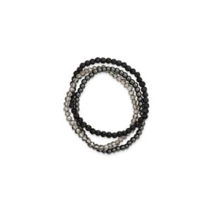 Sterling Silver Black and Smoky Crystal, Hematite 3-piece Stretch Bracelet