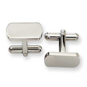Stainless Steel Polished Cuff Links, Oblong