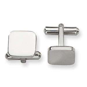 Stainless Steel Polished Cuff Links, Square