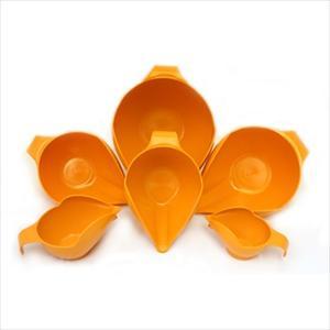 6PC BOWL SET, 1-2-4-6-8-12 CUP (TANGERINE)