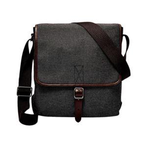 Mens Buckner Leather Trim City Bag - (Black)