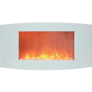 35-In. Callisto Curved Wall Mount Electric Fireplace with Crystal Display, Timer, and Remote, White