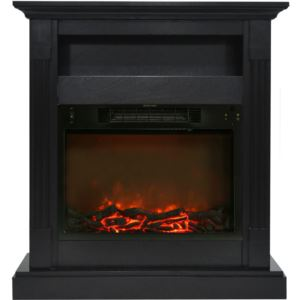Sienna 34 In. Electric Fireplace w/ 1500W Log Insert and Black Coffee Mantel