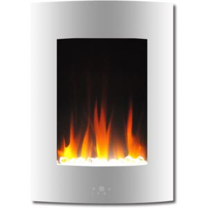 """19.5"""" Curved Vertical Color Changing Wall Mount Electric Fireplace with Crystal LED Display"""", Remote"""