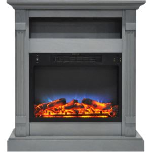 Sienna 34 In. Electric Fireplace w/ Multi-Color LED Insert and Gray Mantel