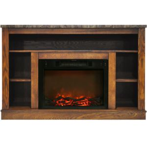 47 In. Electric Fireplace with 1500W Charred Log Insert and A/V Storage Mantel in Walnut