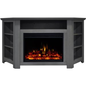 Stratford Electric Fireplace Heater with 56-In. Gray Corner TV Stand, Enhanced Log Display, Multi-Co