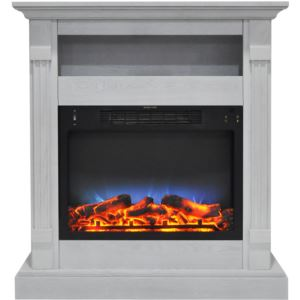 Sienna 34 In. Electric Fireplace w/ Multi-Color LED Insert and White Mantel