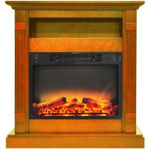 Sienna 34 In. Electric Fireplace w/ Enhanced Log Display and Teak Mantel