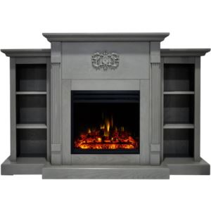 Sanoma Electric Fireplace Heater with 72-In. Gray Mantel, Bookshelves, Enhanced Log Display, Multi-C