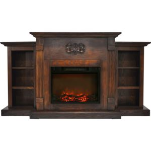 Sanoma 72 In. Electric Fireplace in Walnut with Built-in Bookshelves and a 1500W Charred Log Insert