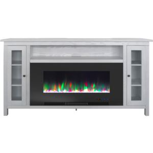 Somerset 70-In. White Electric Fireplace TV Stand with Multi-Color LED Flames, Crystal Rock Display,