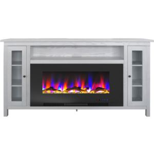 Somerset 70-In. White Electric Fireplace TV Stand with Multi-Color LED Flames, Driftwood Log Display