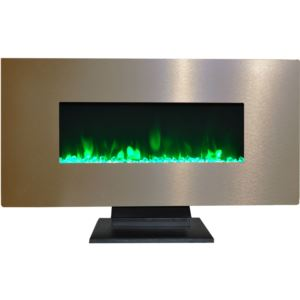 42 In. Metallic Electric Fireplace in Bronze with Multi-Color Crystal Rock Display