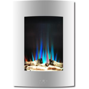 19.5 In. Vertical Electric Fireplace in White with Multi-Color Flame and Driftwood Log Display