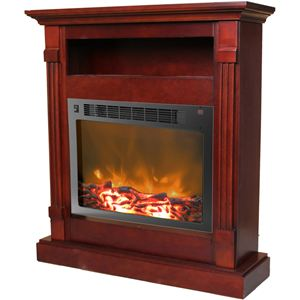 Sienna 34 In. Electric Fireplace w/ 1500W Log Insert and Mahogany Mantel