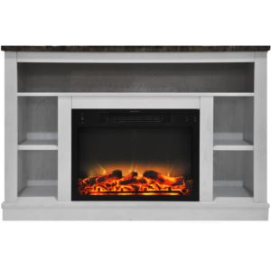 47 In. Electric Fireplace with Enhanced Log Insert and White Mantel