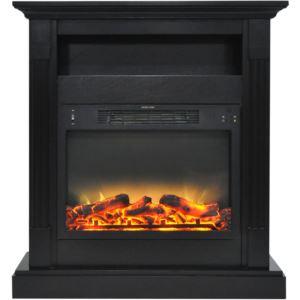 Sienna 34 In. Electric Fireplace w/ Enhanced Log Display and Black Coffee Mantel